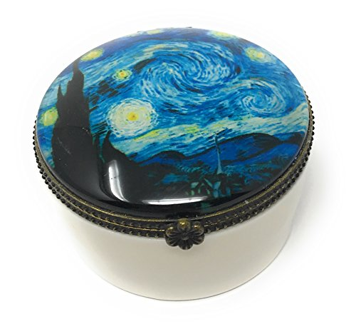 Value Arts Van Gogh Starry Night Trinket Box, Ceramic and Glass, 2.25 Inches Diameter