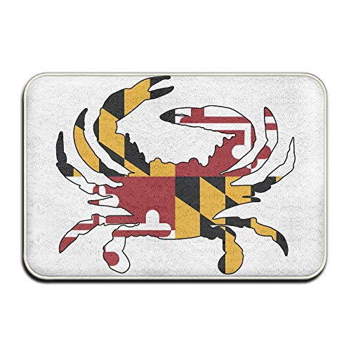 (Wyuhmat1 Crab State Flag Outdoor Rubber Doormat for Front Door Duty Outside Shoes Scraper Floor Door Mat for Porch Garage High Traffic Non Slip Entrance Rug Low Profile Soccer Ball Carpet Home Decor)