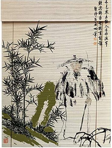 印刷された竹のカーテン木製の遮光窓ローラーブラインド、研究茶室カフェパーティションスクリーンカーテンブラインド、屋内屋外窓ドアロールアップのための中国の天然竹カーテン
