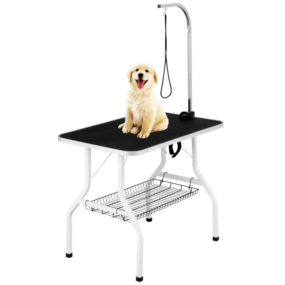 Yaheetech 36'' Professional Foldable Pet Dog Cat Grooming Table with Arm & Noose & Mesh Tray Black