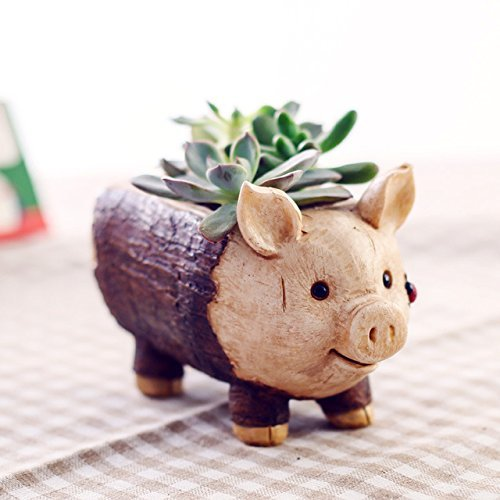 Creative Resin and Ceramic Flowerpot Animal Garden Pots Planters Jardin Bonsai Desk Succulent Flower Pot (Pig)