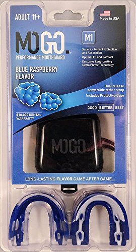 MOGO. Flavored 2 Pack Mouth Guards - Adult Sports Mouthguard for Ages 11 and Up - Mouthpiece for MMA, Football and Lacrosse - Tether Strap, Fitting Instructions and Carry Case (Blue Raspberry) by MOGO. (Image #1)