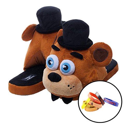 FNAF 3 Five Nights at Freddy's - Freddy Fazbear Pajama Plush Memory Foam Slip-On Slippers Shoes With 2 x Toy Bracelets