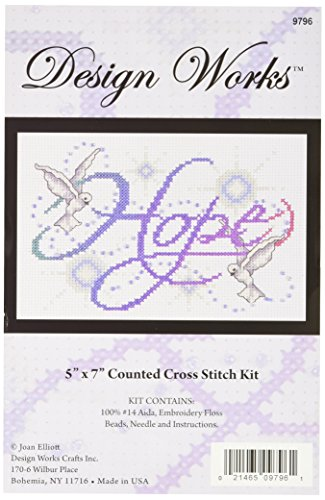 Tobin DW9796 14 Count Hope Counted Cross Stitch Kit, 5 by 7-Inch ()