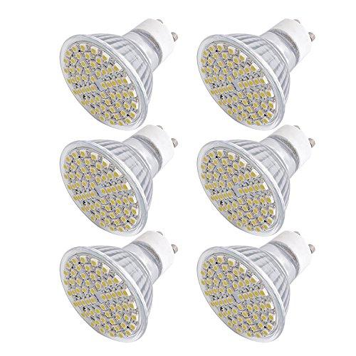 Sonline 6x Focos 60 LEDs 3528 SMD GU10 230V Blanco Clido Bajo Consumo Ecolgico