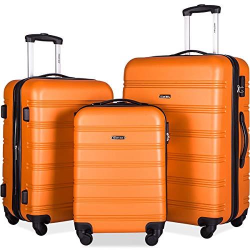 Merax 3 Pcs Luggage Set Expandable Hardside Lightweight Spinner Suitcase (Orange)
