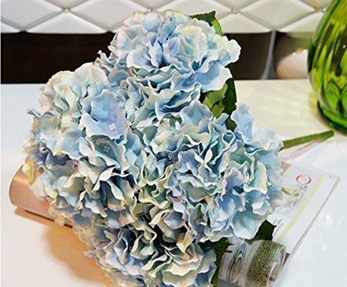 Azul Artificial Hortensia Flores de Seda 5 Cabezas de Arreglos de Flores Artificiales Manojo de Ramo de Novia Ramo de la Boda para el Hogar Jard/ín Decoraci/ón Del Partido Decoraci/ón Para El Hogar