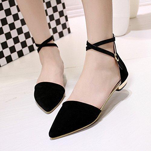 sandali sandali asolato Baotou sottile A singolo satinato scarpe di piatto fondo PIATTO 39 Video nero femmina yalanshop FONDO wRqtCO1