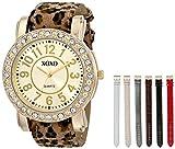 XOXO Women's XO9065 Analog Display Analog Quartz Gold-Tone Watch with Interchangeable Straps