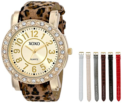 XOXO Women's XO9065 Analog Display Analog Quartz Gold-Tone Watch with Interchangeable Straps ()