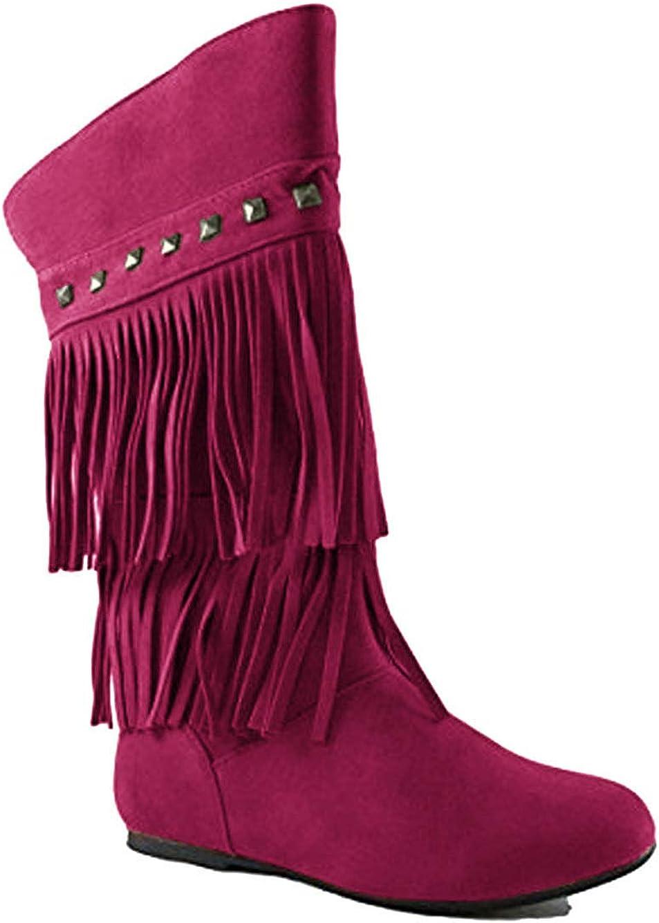 YOKI Trina 03K Little Girls Moccasin 2 Layer Fringe Boots