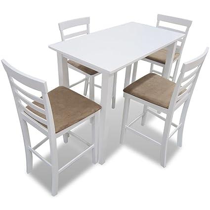 vidaXL Set conjunto mesa de bar con 4 sillas comedor cocina, Blanco ...