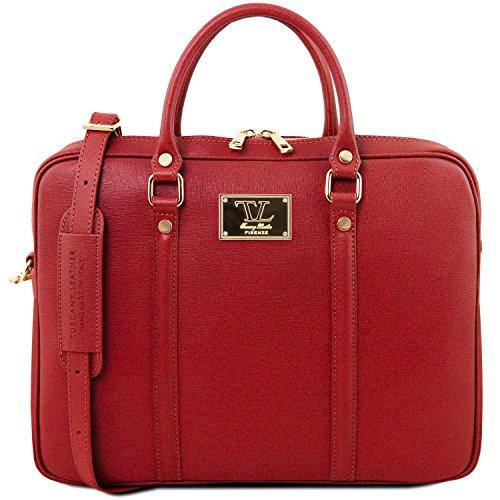 Tuscany Leather Prato Esclusiva cartella porta notebook in pelle Saffiano Talpa scuro Rosso