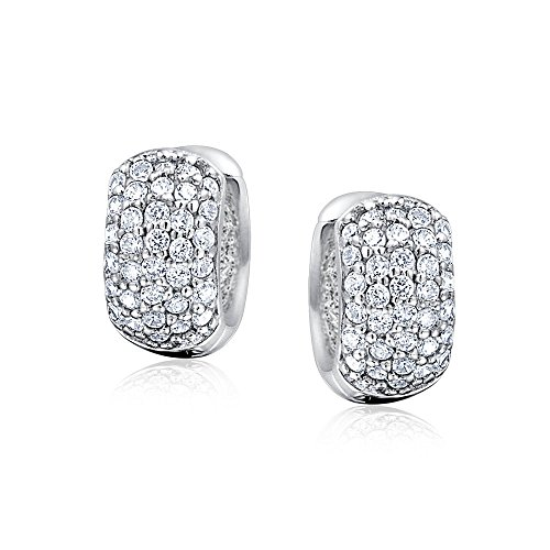 Bling Jewelry Five Row Pave Clear CZ Huggie Hoop Earrings Rhodium Plated
