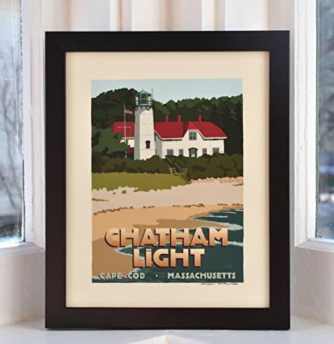 - Chatham Light, Cape Cod Framed Print (8x10 Lighthouse Travel Poster, Wall Decor Art)