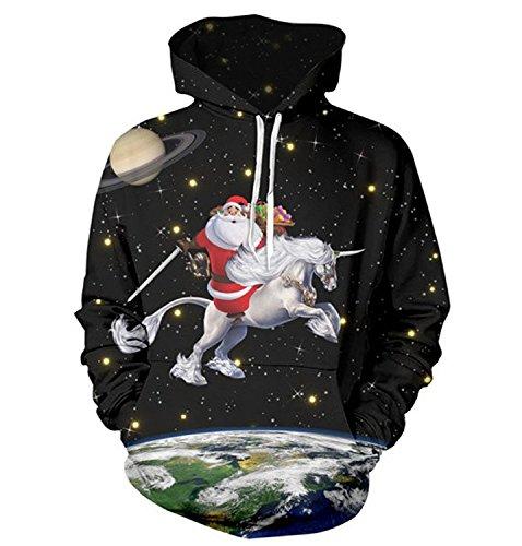 Queen Area 3d Digital Print Christmas Santa Unicorn Drawstring Hooded Sweatshirt Casual Pullover Hoodie with Big Pockets (Santa Adult Mens Hoodie)
