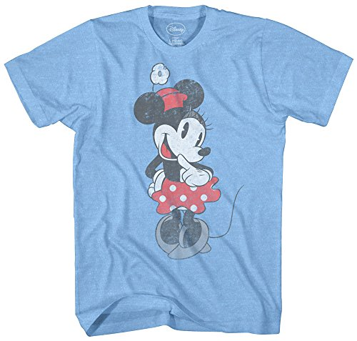 SHY Minnie Mouse Graphic Tee Classic Vintage Disneyland World Mens Adult T-Shirt Apparel (Medium, Heather Light Blue) (Vintage Shirts Men)