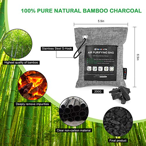 Thosolth Bamboo Charcoal Air Purifying Bag(4 Packs200g)-Natural Odor Eliminator-Car Air Fresheners-Powerful Activated Charcoal Bags Odor Absorber for Closet Shoe Home Basement and Pet