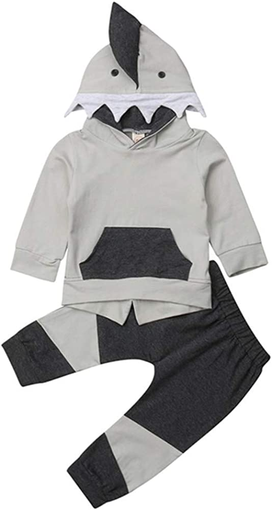 Kids Boys Girls Shark Terry Hoodies Sweatshirts Tops Winter Long Sleeve Hooded