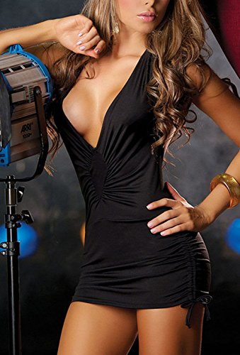 Sexy Temptation Nightwear Dress Women Bandage Deep V Neck Party Club Dresses (black)