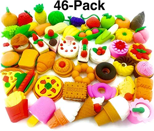 Food Erasers OHill Pack of 46 Pencil Erasers for Kids Pull Apart 3D Mini Erasers Assorted Food Cake Dessert Puzzle Erasers for Birthday Party Supplies Favors, School Classroom Rewards and -