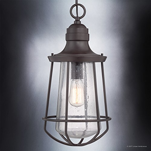 Luxury Vintage Outdoor Pendant Light, Large Size: 20''H x 9.5''W, with Nautical Style Elements, Cage Design, Estate Bronze Finish and Seeded Glass, Includes Edison Bulb, UQL1125 by Urban Ambiance by Urban Ambiance (Image #2)