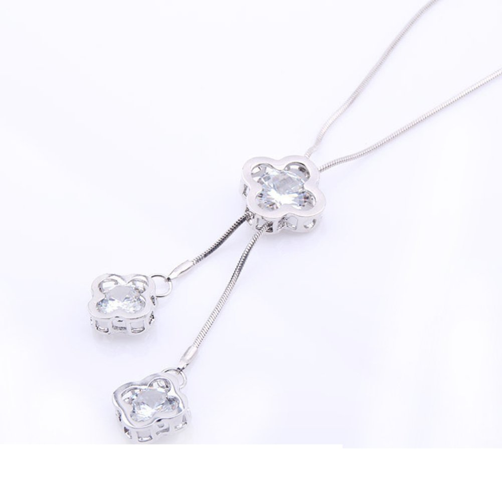 angel3292 Clearance Deals!Women Sweater Chain Fashion Long Flower Necklace Pendant Clothing Accessories - Silver