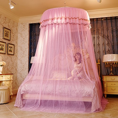 MAGILONA Home Hanging Lace Round Princess Bed Protect Canopies Netting Large Size Mosquito Net Bedding or Outdoors Netting Fit Twin, Full, Queen, King Bedroom Tent (Pink)