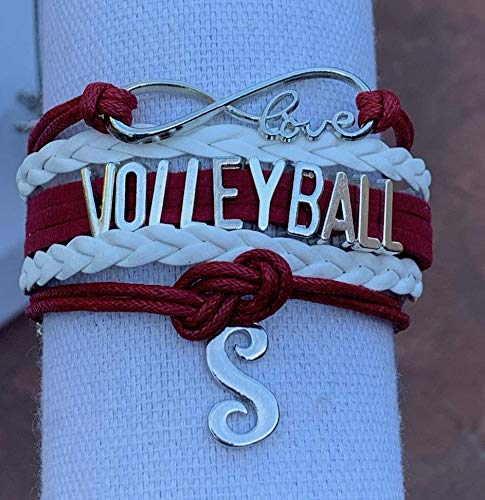 Custom Volleyball Jewelry Perfect Gift For Volleyball Players /& Teams Personalized Maroon Volleyball Infinity Charm Bracelet with Letter Charm