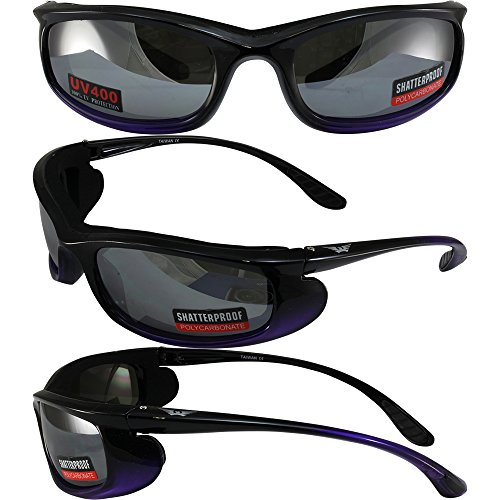 Global Vision Shadow Motorcycle Riding Sunglasses Two-Tone Black and Purple Frames Flash Mirror Lens