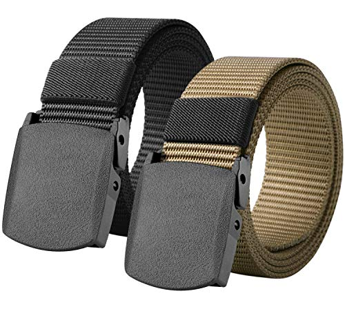 (Loritta 2 Pack Mens Canvas Belts Nylon Military Tactical Web Belt With Plastic Buckle, Style 01(Black + Khaki))