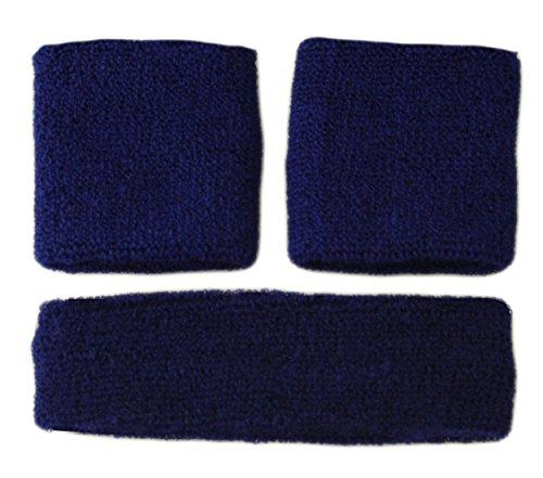 - SWEATBANDS SWEAT BAND SET Terry Cloth Gym Unisex - 1 Headband and 2 Wristbands (Navy Blue)