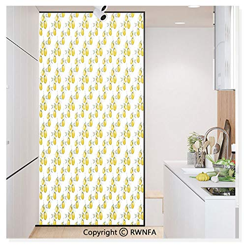 RWN Film Window Films Privacy Glass Sticker Lemon Tree Branches Agriculture Kitchen Lemonade Citrus Figure Graphic Art Static Decorative Heat Control Anti UV 30In by 59.8In,Olive Green Yellow ()