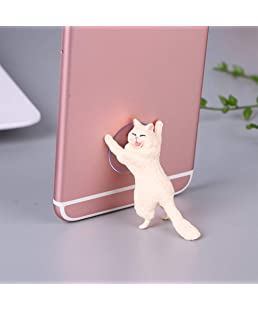 Leoie Cute Cartoon Cat Phone Holder Car Mount Sucker Bracket Universal for Sumsung Huawei LG iPhone X XS 8 7 6 Beige