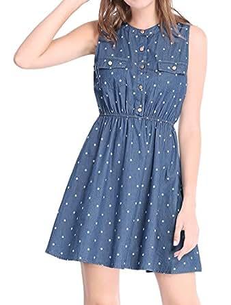 Allegra K Women's Sleeveless Polka Dots Elastic Waist Denim Dress XS Dark Blue