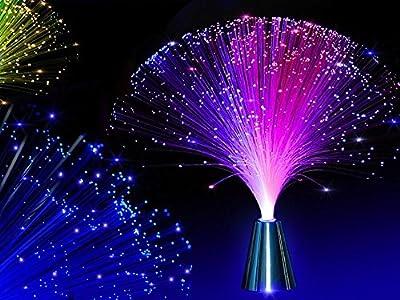 E&A 2Pcs LED Colourful Changing Fibre Fiber Optic Fountain Night light Calming Lamp Christmas