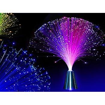 E&A 2Pcs LED Colourful Changing Fibre Fiber Optic Fountain Night ...