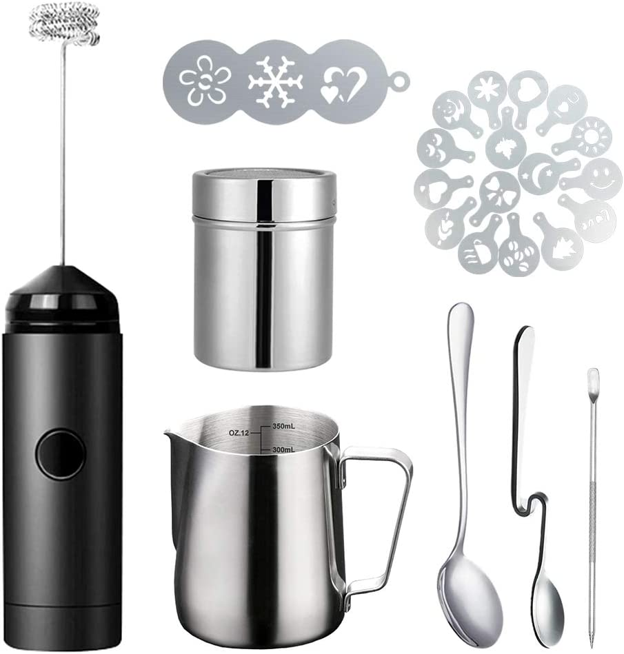 Milk Frother Handheld Coffee Art Set - with Milk Frother Pitcher, Powder Cocoa Shaker, Latte Art Pen, Coffee Stencils, Coffee Spoons