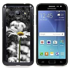 "Pulsar Snap-on Series Teléfono Carcasa Funda Case Caso para Samsung Galaxy J2 / J200 , Margarita blanca triste Hermoso Negro"""