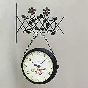 Cc Retro Metal Double Sided Clock Personality Decorative Wall Clock Muted Timepieces