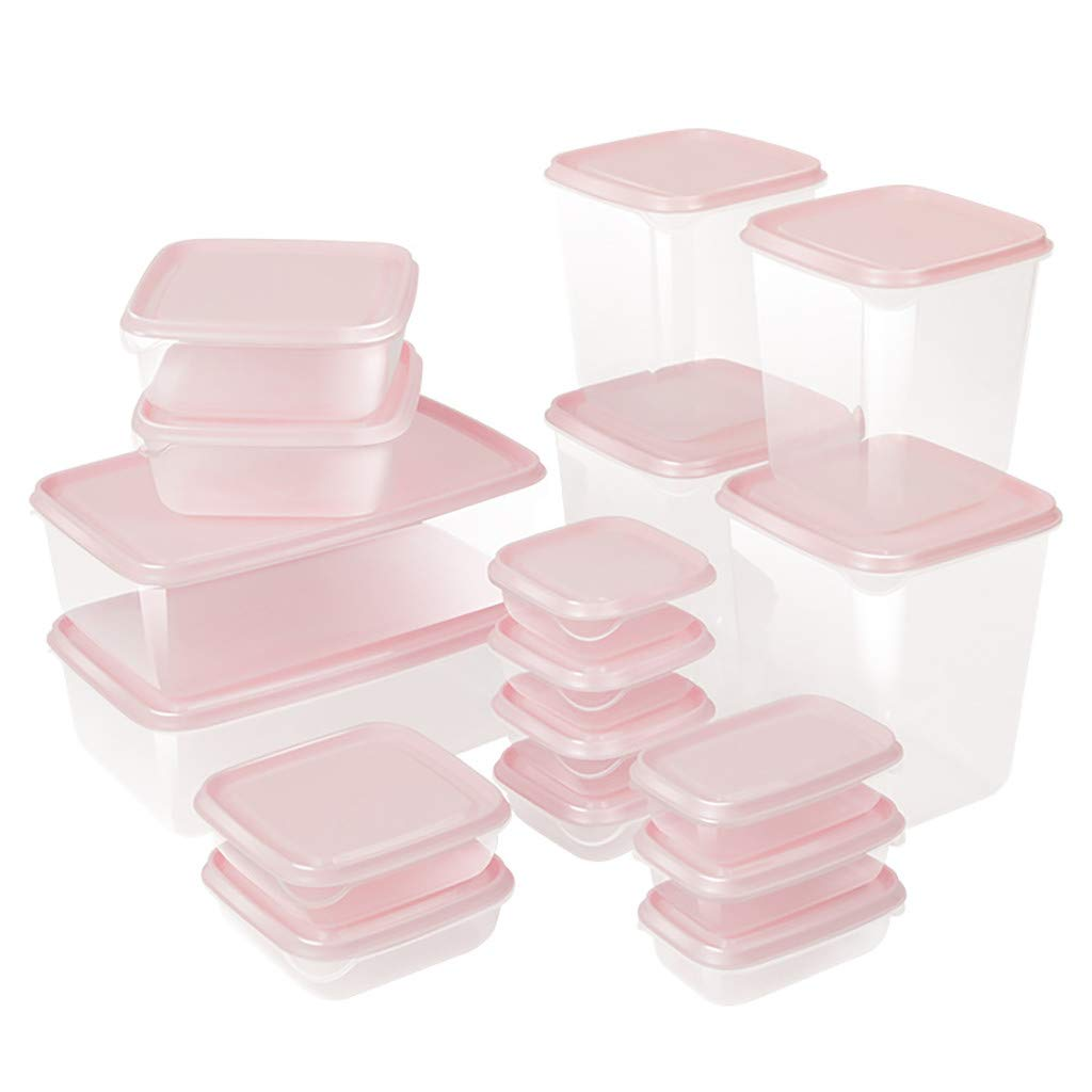 Kitchen Refrigerator Food Preservation Container Storage Boxes Set of 17Pcs,Onegirl Transparent Storage Box Containers Sealing Food Preservation PP Fresh Pot Container Boxes (Pink)