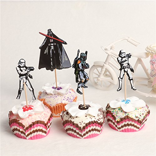 KBN Cupcake Toppers Star Wars 24 Pc Quality Birthday Kids Party Supplies Pick Cake Toppers