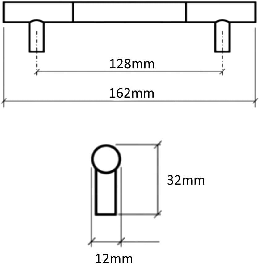 2x Tirador para caj/ón alacena puerta mueble armario Cagayan cromo//plata mate 128mm C41500 AERZETIX