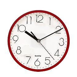 SANNIX Silent Decorative Round Non-ticking Quartz Digital Wall Clock-Red,9inch