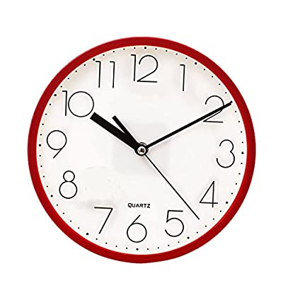 SANNIX Silent Decorative Round Non-Ticking Quartz Digital Wall Clock-Red,9inch - Non ticking. Quiet sweep second hand, no ticking to ensure a good sleeping or working environment. Concise style. Clear to read,Special and elegant design meet all your decoration need. Powered by 1 AA battery, ordinary Carbon Zinc battery, not Alkaline battery - wall-clocks, living-room-decor, living-room - 512EkSlTErL. SS400  -