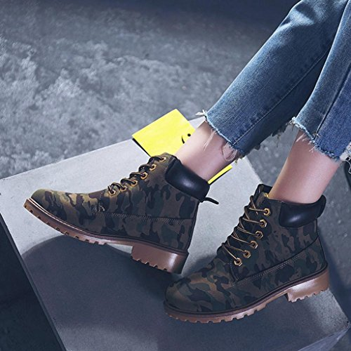 Biker Boots Boots Ankle Shoes Womens Shoes Martin Ladies Camouflage JIANGfu Flat wt8qEF