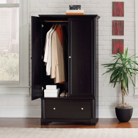 Armoire Closet waxed black Wardrobe furniture 2 framed doors laminate wood Antiqued metal pulls Drawer with metal runners and safety stops rod 36.29''W x 21.42''D x 66.63''H 5-year limited warranty