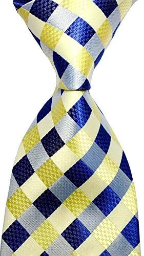 Scott Alone : New Classic Yellow Dark Blue Gray 100% New Jacquard Woven Silk Men's Tie Necktie