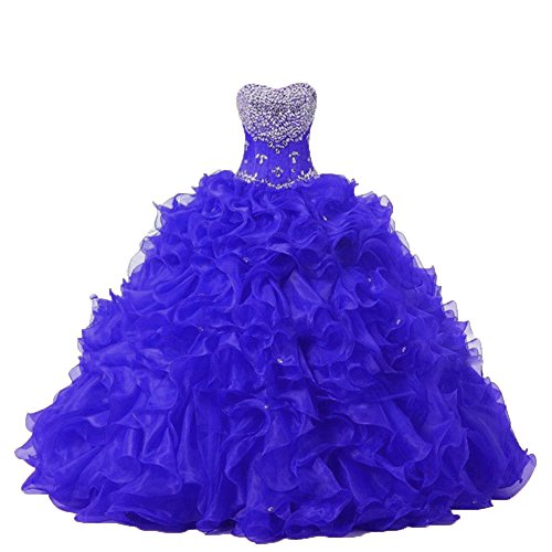 Organza Royalblue Dresses Diandiai Sweetheart Beads Gown Quinceanera Ball Women's with wnCIC1qzA