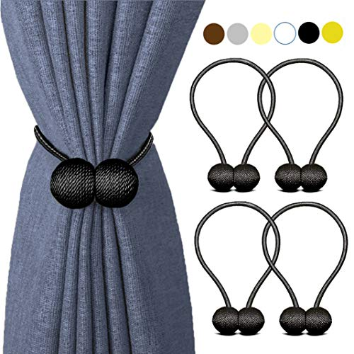 - HILELIFE Magnetic Curtain Tiebacks Clips - Window Tie Backs Holders for Home Office Decorative Rope Holdbacks Classic Tiebacks Design (2 Pair (Black))